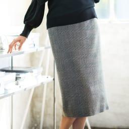 グレンチェック ロングタイトスカート 着用例