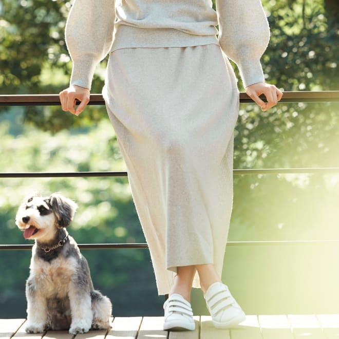 ワッフル編み ホールガーメント ロングスカート 着用例