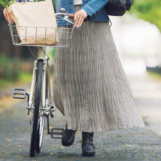 ミニギンガム ランダムプリーツ スカート 着用例