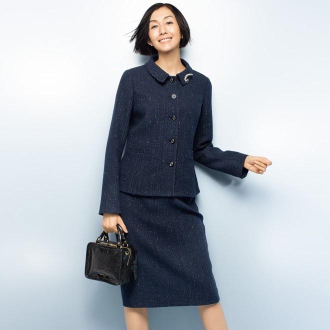 イタリア素材 ラメツイード スーツセット(ジャケット+スカート) コーディネート例