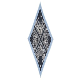 シルクツイルダイヤ型 スカーフ (イ)ネイビー×サックス系