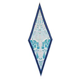 シルクツイルダイヤ型 スカーフ (ア)ブルー×ミントグリーン系
