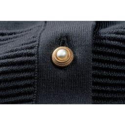 透かし柄編みニット カーディガン ボタン部分