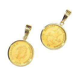 純金 1/20オンス イルカ コイン ペンダントヘッド 左:裏、右:表