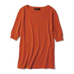 イタリア糸 接触冷感 強撚コットン 五分袖プルオーバー (イ)ダークオレンジ