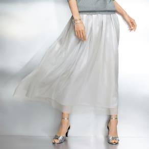 ラメチュール&シャンタン使い タック フレアースカート 写真