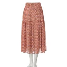 イタリア素材 ラメ楊柳 小花プリント スカート