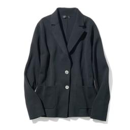 イタリア糸 「エミールコトーニ」 強撚コットン ミラノリブ ニットジャケット (ア)ブラック