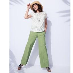 オパール加工 ボタニカル柄 Tシャツ コーディネート例