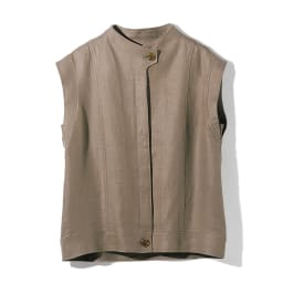 リネン素材 スリーブレス ショートジャケット