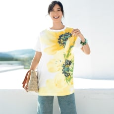 フラワープリント ビッグ Tシャツ
