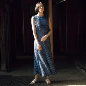イタリア素材 デニム調リネン カットジャカード ワンピース 写真