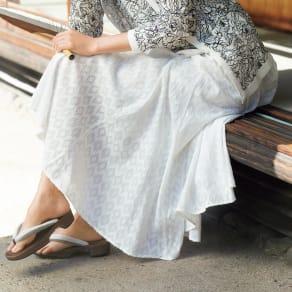 インド製 コットン混 カットジャカード フレアースカート 写真
