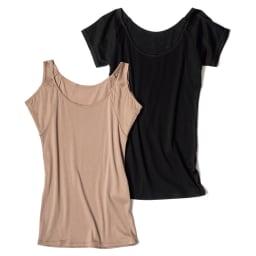 脇にフィットする汗取りインナー 左から スリーブレス(イ)モカベージュ、半袖(ア)ブラック