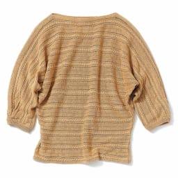 イタリア ラメ糸使い ケーブル編み プルオーバー (ア)キャメル×ゴールドラメ