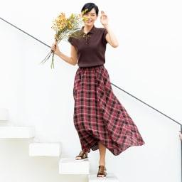 ソメロス社 チェック柄 ロングスカート コーディネート例