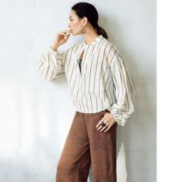 リネンコットン ジャカード編み ニットパンツ コーディネート例
