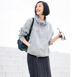 コットン混 ランダムガーター編み ロングスカート コーディネート例