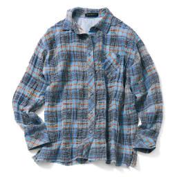 イタリア素材 リネンコットンチェックシャツ