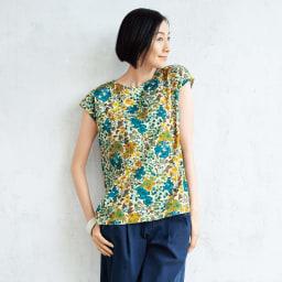 LIBERTY PRINT/リバティプリント 「エドナ」 コットンジャージー Tシャツ コーディネート例