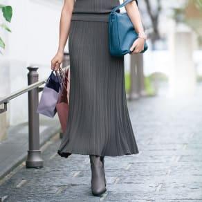 コットン混 ランダムガーター編み ロングスカート 写真