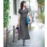 コットン混 ランダムガーター編み セットアップ(Vネックプルオーバー+ロングスカート) 写真
