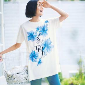フラワープリント ビッグTシャツ 写真