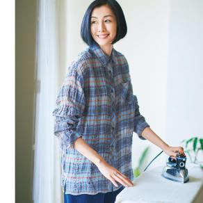 イタリア素材 リネンコットンチェックシャツ 写真