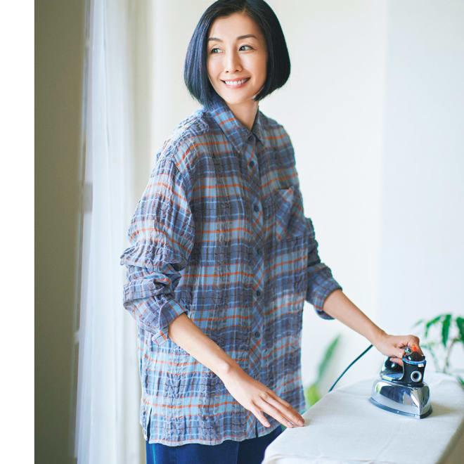 イタリア素材 リネンコットンチェックシャツ コーディネート例