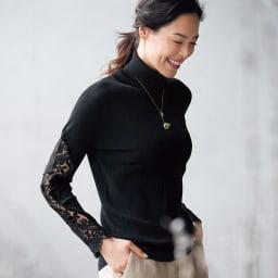 針抜きリブ編み レース使いプルオーバー コーディネート例