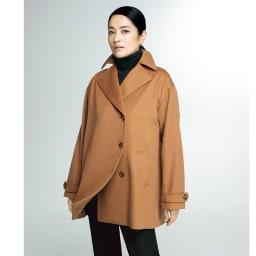 PIACENZA/ピアツェンツァ カシミヤ デザインPコート (イ)キャメルブラウン コーディネート例