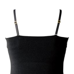 スリムにたためるモールドカップ付き シルクジャージーキャミソール back style (ア)ブラック