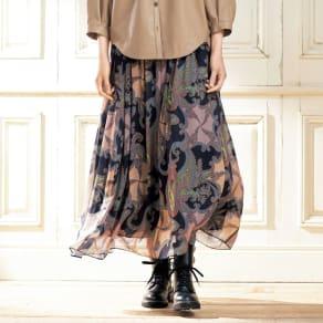 ラッティ社 ペイズリープリント フレアースカート 写真