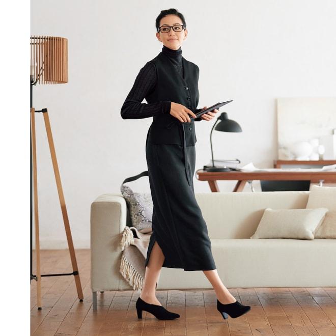 ジレ&スカート セットアップ風ワンピース コーディネート例