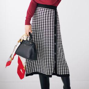 千鳥柄ジャカード編みスカート 写真