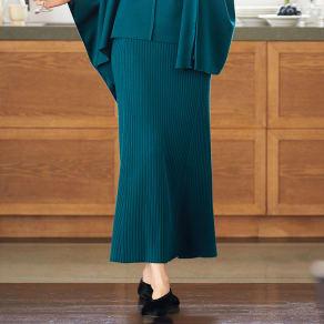 針抜きリブニットAラインロングスカート 写真