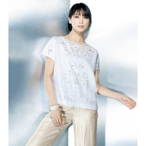 リネン カットワーク刺繍 ブラウス 画像
