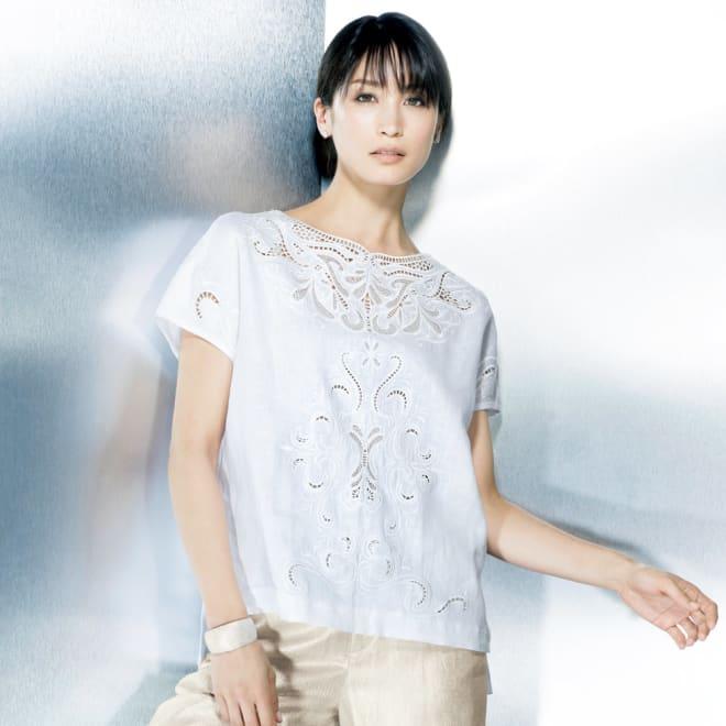 リネン カットワーク刺繍 ブラウス (ア)ホワイト 着用例