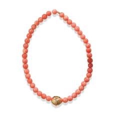 YUKIKO OKURA/ユキコ・オオクラ SV ガーネ珊瑚 シェルチャーム付き ブレスレット