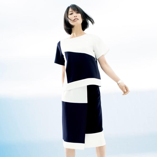 配色ブロックデザイン セットアップ(プルオーバー+スカート) コーディネート例