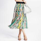 ジオメトリックプリント シフォン プリーツスカート 写真