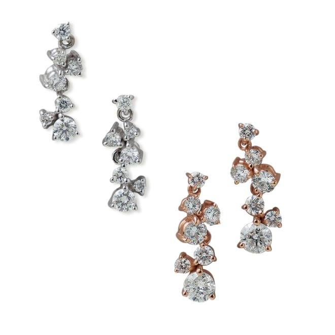K18ダイヤ スターダスト ピアス 左から (ア)WG/0.5ctダイヤ (イ)PG/1ctダイヤ