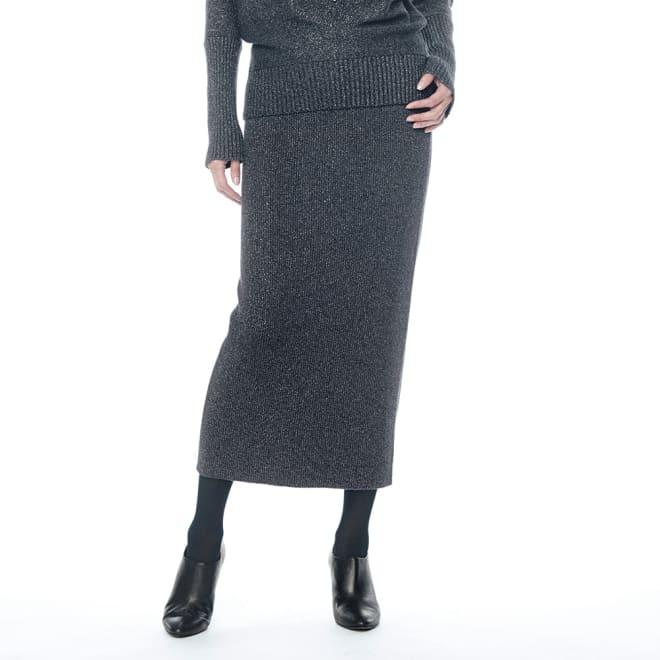 イタリア糸 ラメ入り ウール混ニット スカート 着用例
