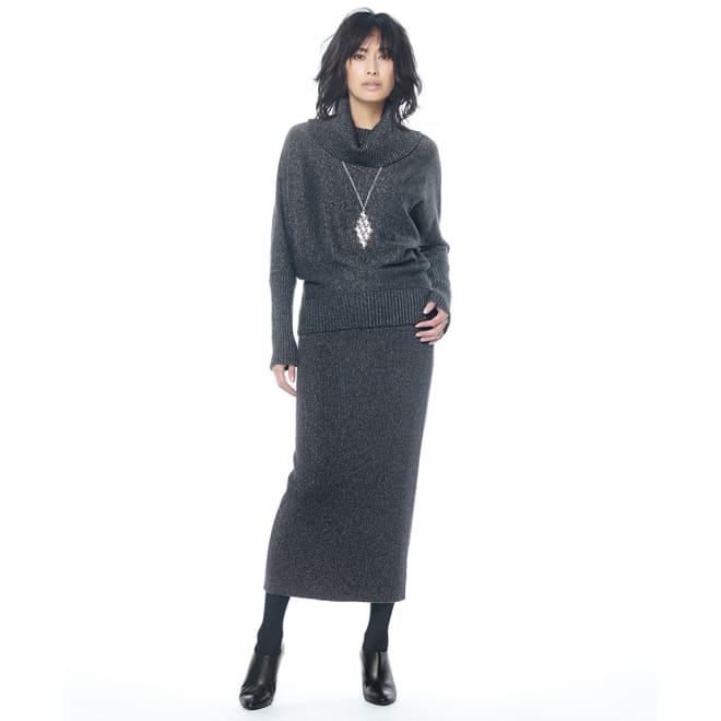 イタリア糸 ラメ入り ウール混ニット セットアップ(プルオーバー+スカート) コーディネート例