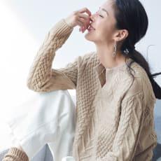 イタリア ラメ糸 アラン編み プルオーバー