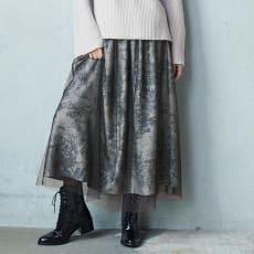 トワル・ド・ジュイ風プリント チュール レイヤード ギャザースカート