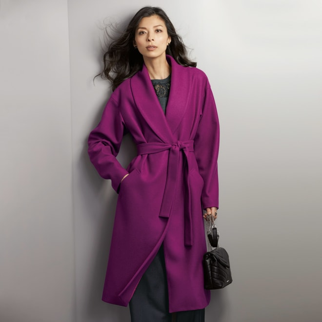 イタリア素材 ウールジャージー ショールカラー コート コーディネート例