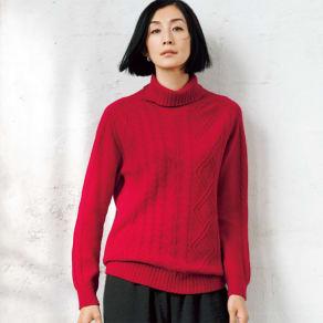 ホールガーメント カシミヤ 柄編み タートルネック プルオーバー 写真
