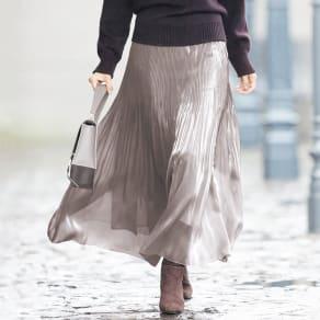 シアーシャンブレー プリーツスカート 写真