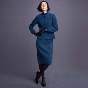 PIACENZA/ピアツェンツァ からみ織り ループツイード スーツセット(ジャケット+スカート) 写真